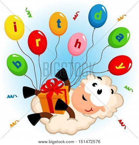 funny birthday of sheep - vector illustration, eps