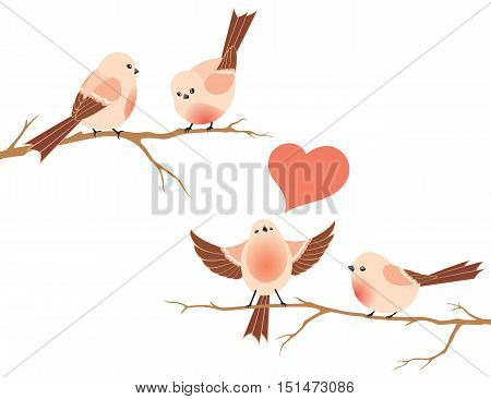 Two branches with birds isolated on white background.