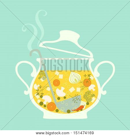 Food illustration of fresh hot soup in glass tureen.