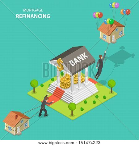 Mortgage refinancing isometric flat vector illustration. A man drags his house alone toward to the bank. After bank visit he flies out because the house is not heavy anymore.
