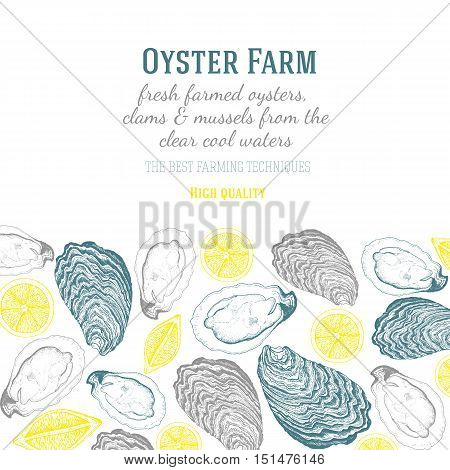 Vector illustration of oyster. Farm and restaurant design template. Linear drawn vector illustration with oysters and lemons.