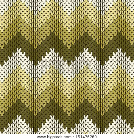 Knitting Seamless Zigzag Pattern In Warm Muted Colors