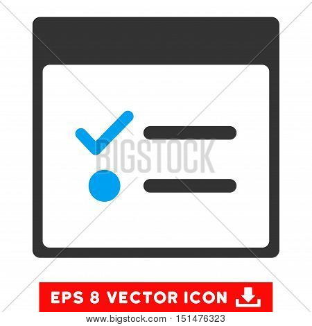 Todo Items Calendar Page icon. Vector EPS illustration style is flat iconic bicolor symbol, blue and gray colors.