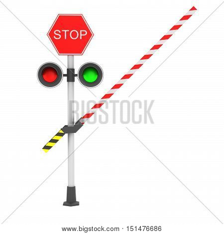 Railroad crossing barrier over white background. 3D rendering