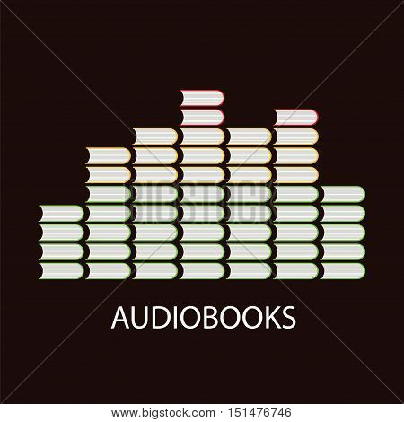Audiobook volume concept with equalizer or volume levels by book icons