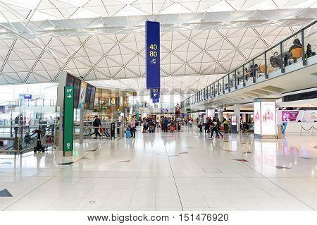 HONG KONG - NOVEMBER 03, 2015: inside of Hong Kong Airport. Hong Kong International Airport is the main airport in Hong Kong. It is located on the island of Chek Lap Kok.