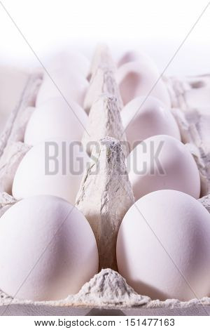 Eggs Package Tray Material Cardboard Fresh Ingredient Cooking Shells White Unbroken Isolated Backgro