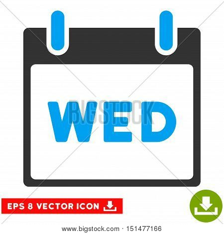 Wednesday Calendar Page icon. Vector EPS illustration style is flat iconic bicolor symbol, blue and gray colors.