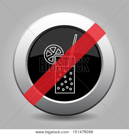 gray chrome button no glass with carbonated drink and straw - banned icon