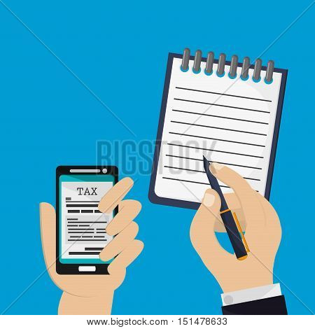 tax on cellphone with economy and money related icons image vector illustration design