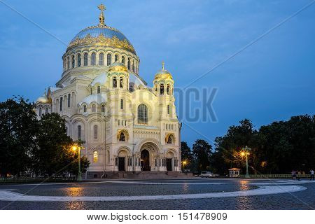 Cupola of Naval St. Nicholas Cathedral in Kronstadt at night, Russia