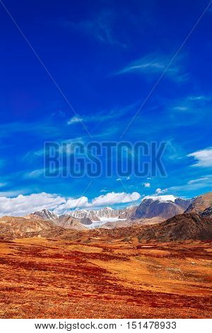 Snowy mountain peaks above the orange steppe and mountain road. (Altai Mountains Siberia Russia)