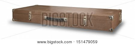 old brown suitcase isolated on white background .