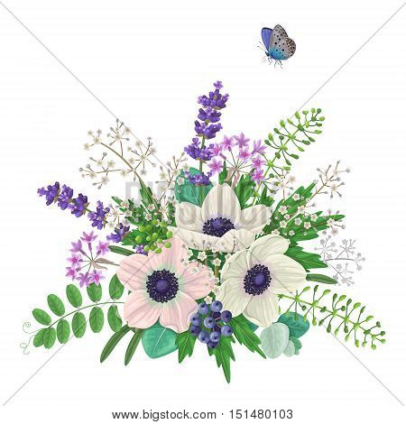 Bunch of flowers and flying butterfly isolated on white. Cream color anemone with floral elements and berries. Anemones romantic bouquet.