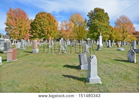 GRANBY QUEBEC CANADA 10 12 2016: Catholic cemetery in fall. Granby is the seat of La Haute-Yamaska Regional County Municipality.  The population as of the Canada 2011 Census was 63,433.
