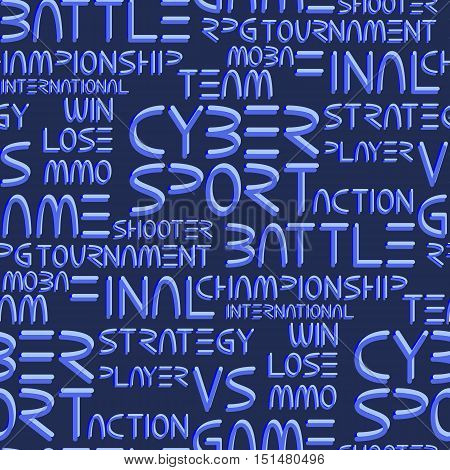 Cyber sport. Vector words and phrases related to computer games tournaments. Vector seamless pattern poster
