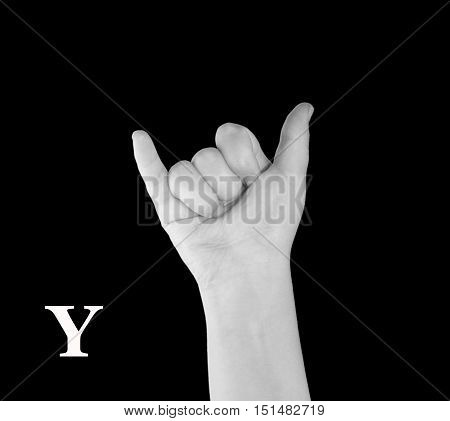 The Letter Y. Finger Spelling the Alphabet in American Sign Language (ASL).