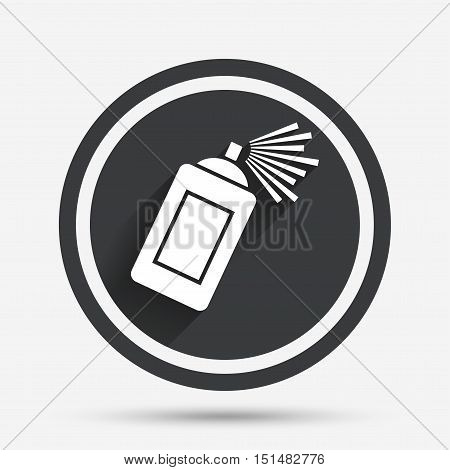 Graffiti spray can sign icon. Aerosol paint symbol. Circle flat button with shadow and border. Vector