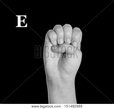 The Letter E. Finger Spelling the Alphabet in American Sign Language (ASL).