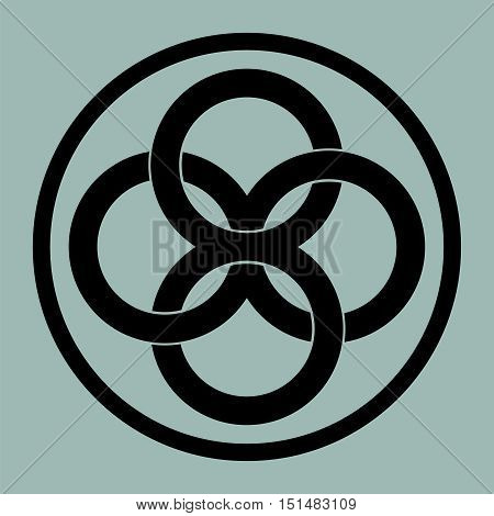 United four abstract rings to create a symbol of infinity, logo, tattoo template.