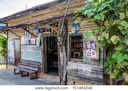 Livingston Guatemala - August 31 2016: Wooden storefront in Caribbean town of Livingston