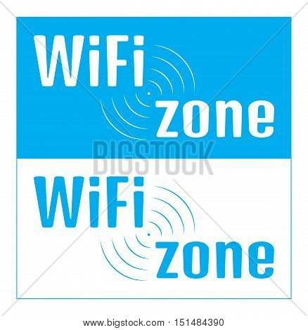 vector rectangular nameplate with an inscription Wi fi zone on a white and blue background