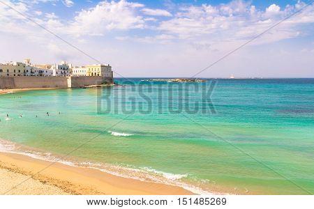 Scenic view of Gallipoli waterfront Salento Apulia Italy