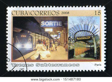 CUBA - CIRCA 2008: A post stamp printed in Cuba, shows Paris subway, Trenes Subterraneos, circa 2008.