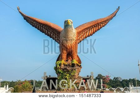 Langkawi,Malaysia-Mac 6,2015:Statue of eagle in Langkawi island on 6th March 2015.