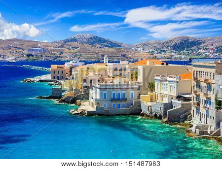 Picturesque island Syros - view of popular part