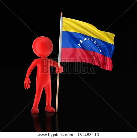 3D Illustration. Man and Venezuelan Flag. Image with clipping path.