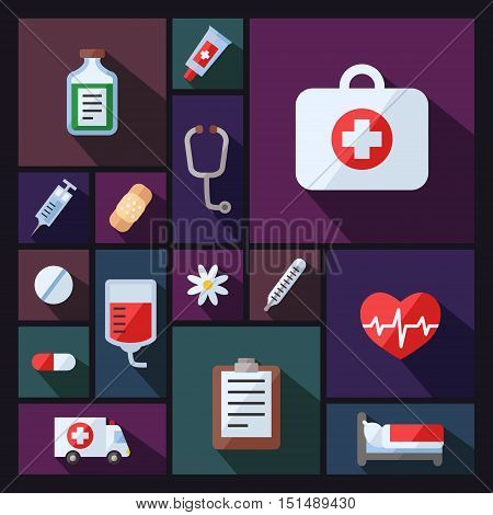 Medical and science vector background with sectors. Chemistry Physics and Biology. Modern flat design.