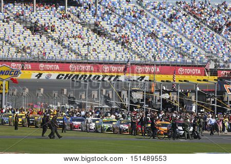Concord, NC - Oct 09, 2016: Kevin Harvick (4) and Alex Bowman (88) lead the field for the Bank of America 500 at the Charlotte Motor Speedway in Concord, NC.