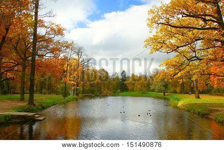 Autumn morning in Alexandrovsky Park in Tsarskoye Selo