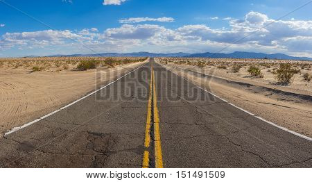 Wide View Of Desert Road