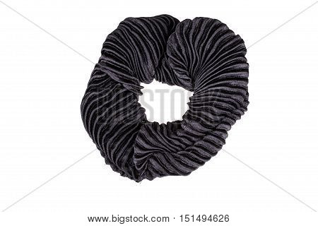 Black hair scrunchy isolated on white background with clipping path