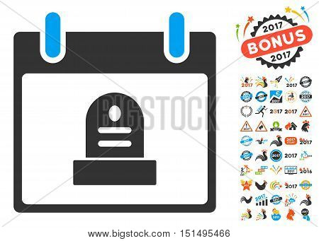 Rip Monument Calendar Day icon with bonus calendar and time management graphic icons. Vector illustration style is flat iconic symbols, blue and gray colors, white background.