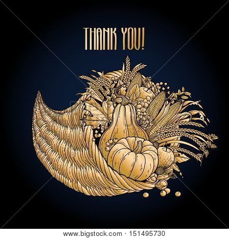 Graphic cornucopia drawn in line art style. Thanksgiving day art. Vector illustration isolated on black background in golden colors.