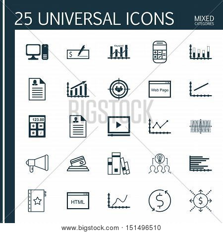 Set Of 25 Universal Icons On Computer, Segmented Bar Graph, Credit Card And More Topics. Vector Icon