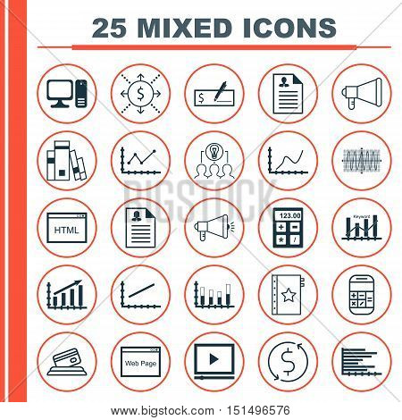 Set Of 25 Universal Icons On Library, Video Player, Cosinus Diagram And More Topics. Vector Icon Set