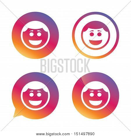 Smile face sign icon. Happy smiley with hairstyle chat symbol. Gradient buttons with flat icon. Speech bubble sign. Vector
