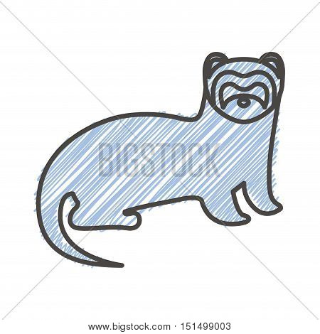 silhouette with nutria wild animal stripes vector illustration