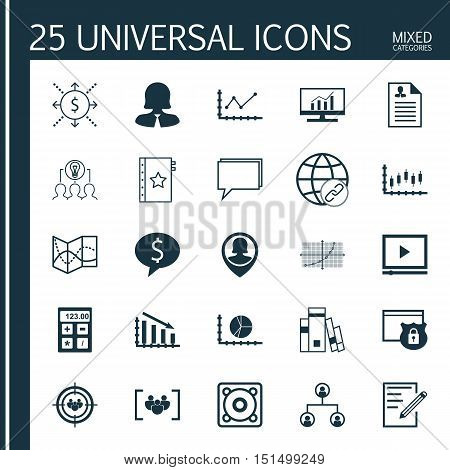 Set Of 25 Universal Icons On Music, Conference, Focus Group And More Topics. Vector Icon Set Includi