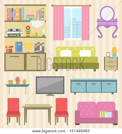 Illustration Set of Colorful Furniture of Room for Your Interior of Apartment. Flat Icons and Objects: Sofa, Bed, Lamps, Bedside Tables, Bookcase and Books, Boudoir, Table, Chairs, Window - Vector