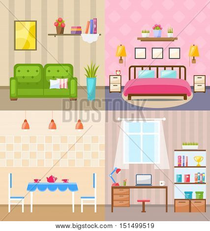 Illustration Set Room Interiors with Furniture Flat Icons: Living Rooms with Sofa, Bedroom with Bed, Lamps and Bedside Tables, Dining Room, Home Office with Desk, Bookcase. Minimalism Style - Vector