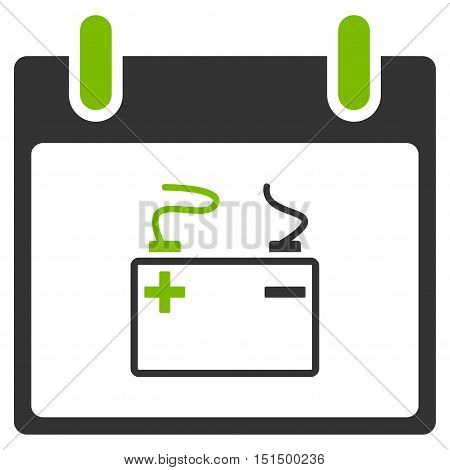 Accumulator Calendar Day vector icon. Style is flat graphic bicolor symbol, eco green and gray colors, white background.