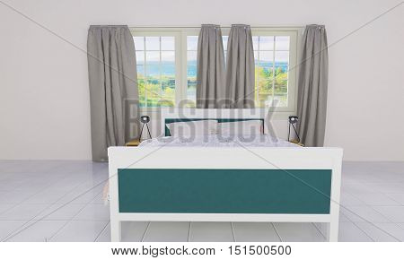 Simple bedroom with loft style-3D rendering image