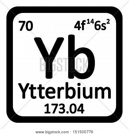 Periodic table element ytterbium icon on white background. Vector illustration.