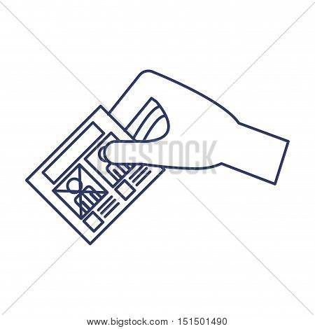 silhouette of hand by voting vector illustration