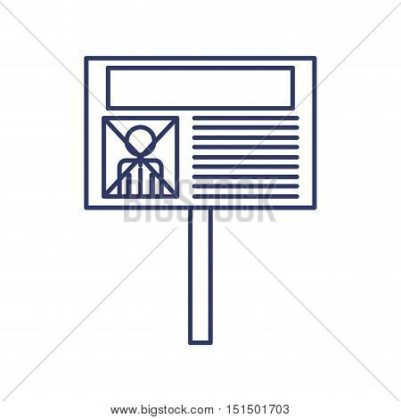 silhouette with fence electoral advertising vector illustration